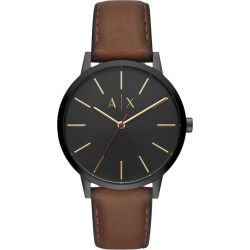 Armani Exchange Brown Leather Black Dial Strap Watch found on Bargain Bro UK from H Samuel
