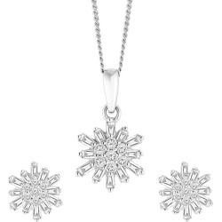 9ct White Gold 0.33ct Total Diamond Earrings & Pendant Set found on Bargain Bro UK from Ernest Jones UK