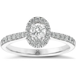 The Diamond Story 0.5ct Halo Diamond Oval Ring 18ct White Gold Setting