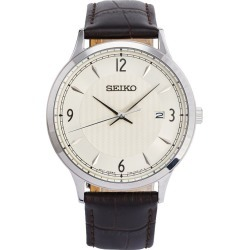 Seiko Men's Stainless Steel Brown Leather Strap Watch found on Bargain Bro UK from H Samuel