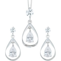 9ct White Gold Cubic Zirconia Double Drop Earrings & Pendant found on Bargain Bro UK from H Samuel