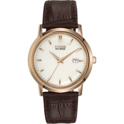 Citizen Eco-Drive Men's Gold Plated Leather Strap Watch found on Bargain Bro UK from Ernest Jones UK