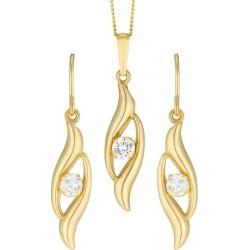 9ct Gold Cubic Zirconia Double Swirl Drop Earrings & Pendant found on Bargain Bro UK from H Samuel
