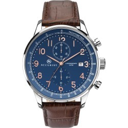 Accurist Men's Blue Dial Leather Strap Chronograph Watch found on Bargain Bro UK from H Samuel