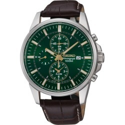 Seiko Men's Chronograph Green Dial Brown Leather Strap Watch found on Bargain Bro UK from H Samuel