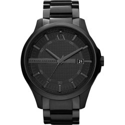 Armani Exchange Men's Black Ion-Plated Bracelet Watch found on Bargain Bro UK from H Samuel