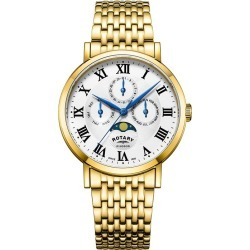 Rotary Windsor Men's Yellow Gold Plated Moonphase Watch found on Bargain Bro UK from Ernest Jones UK
