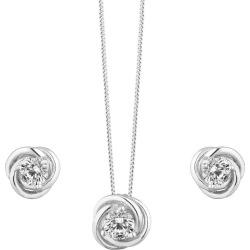 Silver Cubic Zirconia Knot Jewellery Set found on Bargain Bro UK from Ernest Jones UK