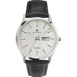 Accurist Men's Grey Dial Black Leather Strap Watch found on Bargain Bro UK from H Samuel