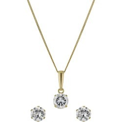 9ct Yellow Gold 5mm Cubic Zirconia Earrings & Pendant found on Bargain Bro UK from H Samuel