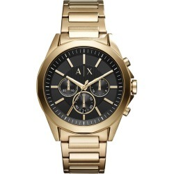Armani Exchange Men's Gold Plated Steel Bracelet Watch found on Bargain Bro UK from H Samuel