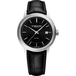 Raymond Weil Maestro Men's Black Leather Strap Watch