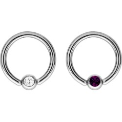 Bodifine Stainless Steel Crystal Eyebrow Ring Set found on Bargain Bro UK from H Samuel