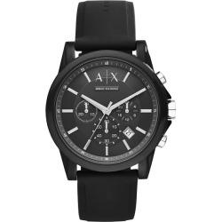 Armani Exchange Men's Black Silicone Strap Watch found on Bargain Bro UK from H Samuel