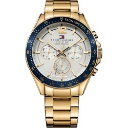 Tommy Hilfiger Men's White Dial Gold-Plated Bracelet Watch found on Bargain Bro UK from H Samuel