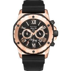 Bulova Men's Marine Star Rose Gold Plated Black Strap Watch found on Bargain Bro UK from H Samuel