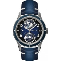 Montblanc 1858 Geosphere Men's Blue Leather Strap Watch found on MODAPINS from Ernest Jones UK for USD $6480.42