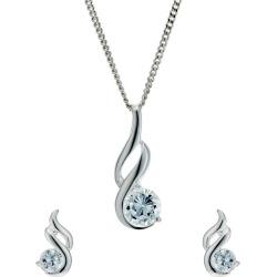 Sterling Silver Cubic Zirconia Earrings & Pendant Set found on Bargain Bro UK from Ernest Jones UK