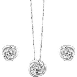 Silver Cubic Zirconia Knot Jewellery Set found on Bargain Bro UK from H Samuel