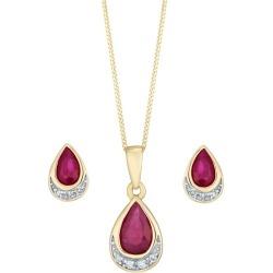9ct Yellow Gold Ruby And Diamond Jewellery Set found on Bargain Bro UK from Ernest Jones UK