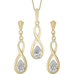9ct Yellow Gold & Cubic Zirconia Earrings & Pendant Set found on Bargain Bro UK from H Samuel