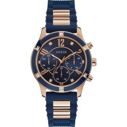 Guess Ladies' Rose Gold Tone & Blue Silicone Strap Watch found on Bargain Bro UK from H Samuel