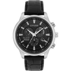 Citizen Men's Eco-Drive Black Leather Strap Watch found on Bargain Bro UK from H Samuel