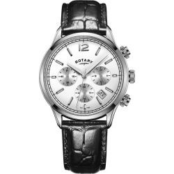 Rotary Men's Black Leather Strap Watch found on Bargain Bro UK from H Samuel
