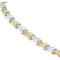 9ct Two-Colour Gold Matt & Polished Bracelet