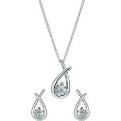 Silver Rhodium-Plated Cubic Zirconia Earrings & Pendant set. found on Bargain Bro UK from H Samuel