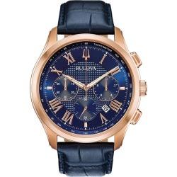 Bulova Men's Classic Wilton Blue Leather Strap Watch found on Bargain Bro UK from H Samuel