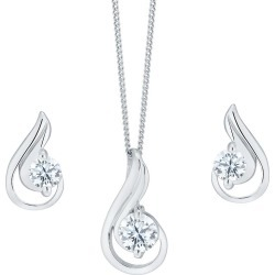 Sterling Silver And Cubic Zirconia Earring And Pendant Set found on Bargain Bro UK from Ernest Jones UK
