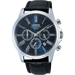 Lorus Men's Chronograph Blue Dial Black Leather Strap Watch found on Bargain Bro UK from H Samuel