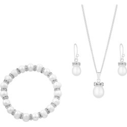 Pearl and Crystal Drop Earring Pendant & Bracelet Set found on Bargain Bro UK from H Samuel