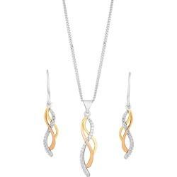 Silver & Gold Cubic Zirconia Twist Earring & Pendant Set found on Bargain Bro UK from H Samuel