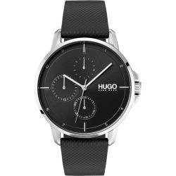 HUGO FOCUS Men's Black Leather Strap Watch found on Bargain Bro UK from H Samuel