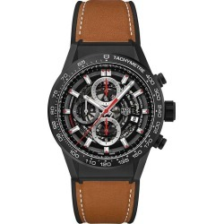 TAG Heuer Carrera Men's Ceramic Leather Strap Watch found on MODAPINS from Ernest Jones UK for USD $6417.11