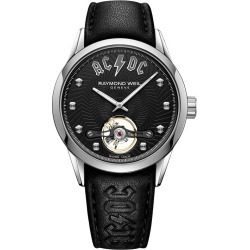 Raymond Weil Freelancer AC/DC Black Leather Strap Watch