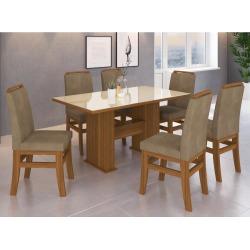 Conjunto Mesa de Jantar 125 Zamarchi com 6 Cadeiras 16 com Tampo de Vidro 160x90cm - Canela/Cacau/Off White found on Bargain Bro India from Schumann for $0.80