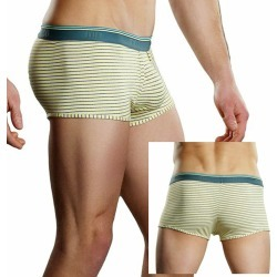 Male Power Heather Stripe Lo Rise Enhancer Short Yellow XL