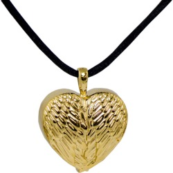 Gold Angel Wing Heart Cremation Pendant, Jewelry Yellow