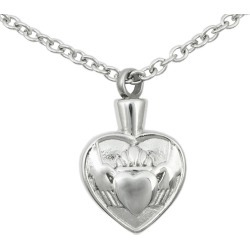 Stainless Steel Claddagh Cremation Pendant, Jewelry Gray