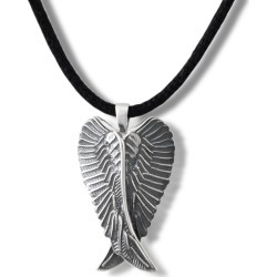 Antique Silver Angel Wings Cremation Pendant, Jewelry Gray