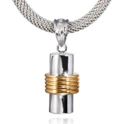 Banded Cylinder Cremation Pendant, Jewelry Yellow