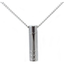 Stainless Steel Cylinder Cremation Pendant, Jewelry Gray