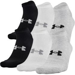 Under Armour Men's Training Cotton No Show Socks - 6 Pack White/Grey/Black L
