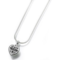Silver Lattice Heart Cremation Pendant, Jewelry Gray