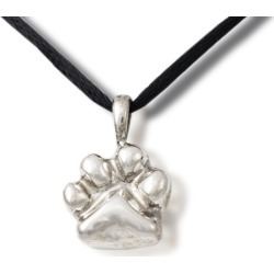 Sterling Silver Paw Print Cremation Pendant, Jewelry Gray