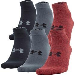 Under Armour Men's UA Essential Low Cut Socks - 6 Pack Red/Black/Grey LG