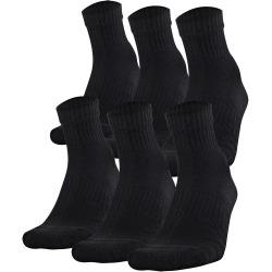Under Armour Kids' Training Cotton Quarter Socks - 6 Pack Black M